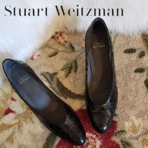 Stuart Weitzman Black Reptilian Scale Heels